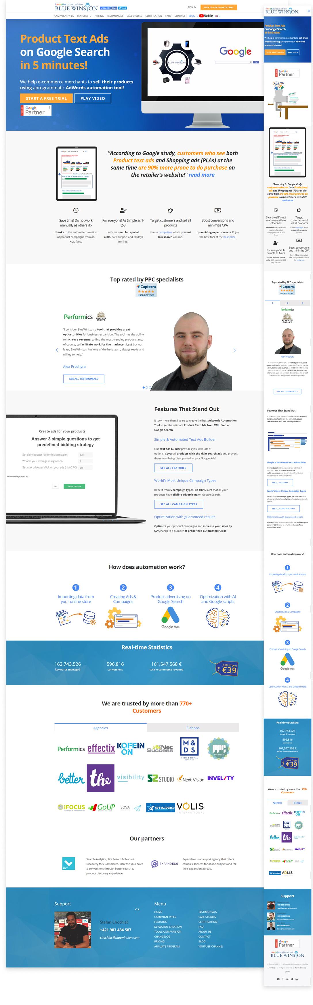 Fully responsive design for desktops, tablets and mobile phones