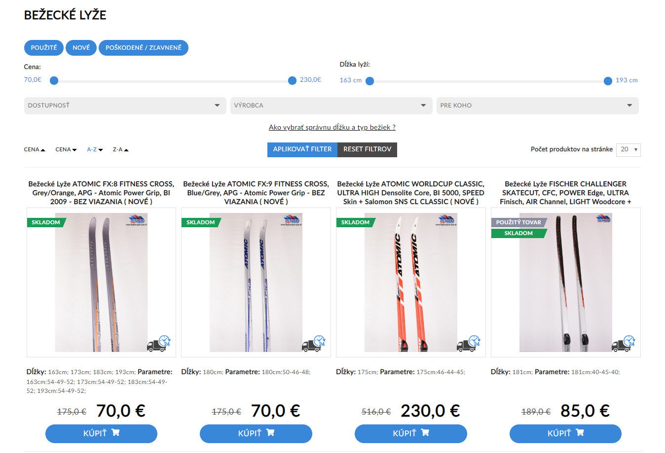 Cheapest skis product filter